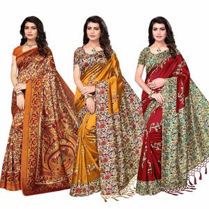 Classy Festive Wear Printed Bhagalpuri-Art Silk Saree - Pack of 3