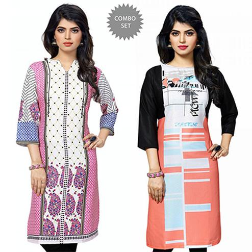 Gorgeous White And Multi Colored Casual Wear Printed Kurti - Pack of 2