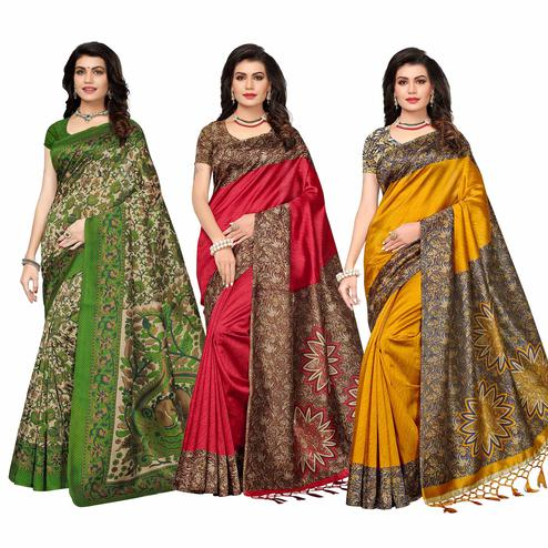 Flattering Festive Wear Printed Art Silk Saree - Pack of 3