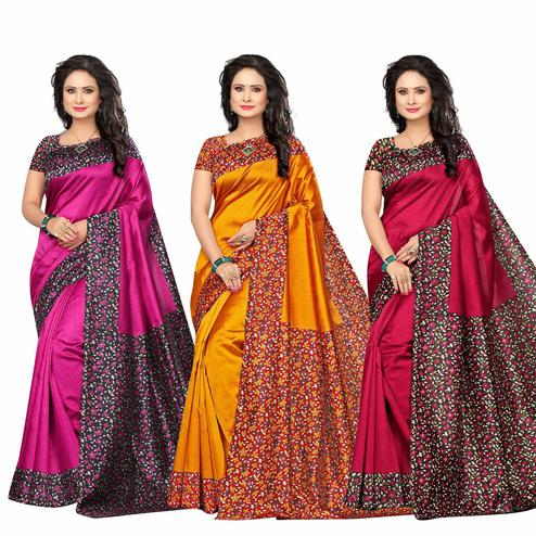 Jazzy Festive Wear Printed Bhagalpuri Silk Saree - Pack of 3