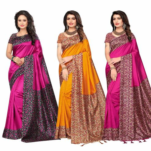 Glowing Festive Wear Printed Bhagalpuri-Art Silk Saree - Pack of 3