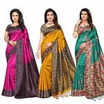 Gleaming Festive Wear Printed Bhagalpuri-Art Silk Saree - Pack of 3