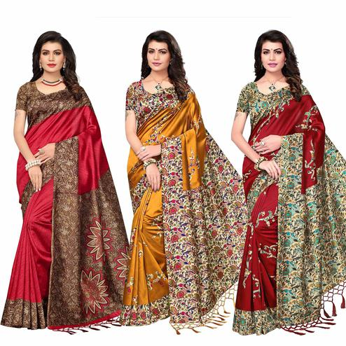 Classical Festive Wear Printed Art Silk Saree - Pack of 3