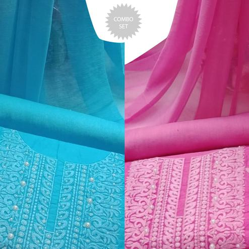 Refreshing Embroidered Modal Cotton Dress Material - Pack of 2