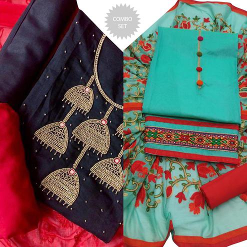 Flattering Embroidered Chanderi Cotton- Modal Dress Material - Pack of 2