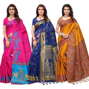 Attractive Festive Wear Printed Saree - Pack of 3