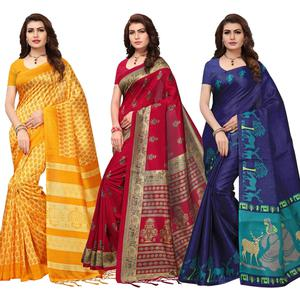 Desiring Festive Wear Printed Saree - Pack of 3