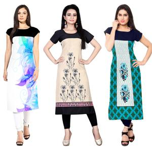 Lovely Casual Wear Printed Crepe Kurtis - Pack Of 3