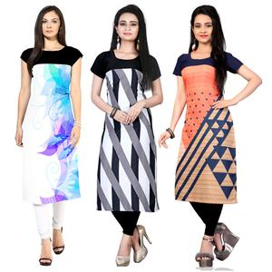 Alluring Casual Wear Printed Crepe Kurtis - Pack Of 3