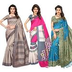 Beautiful Casual Printed Bhagalpuri Silk - Art Silk Saree - Pack of 3