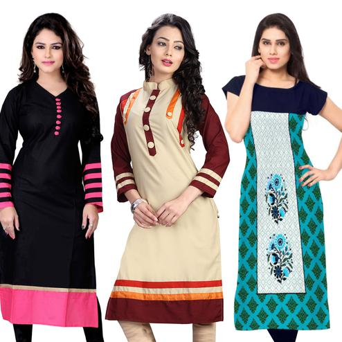 Stylish Casual Cotton-Crepe Kurti - Pack of 3