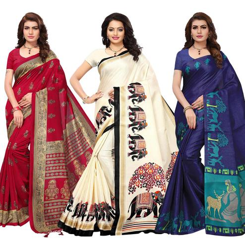Gorgeous Festive Wear Printed Mysore Art Silk-Khadi Silk Saree - Pack of 3