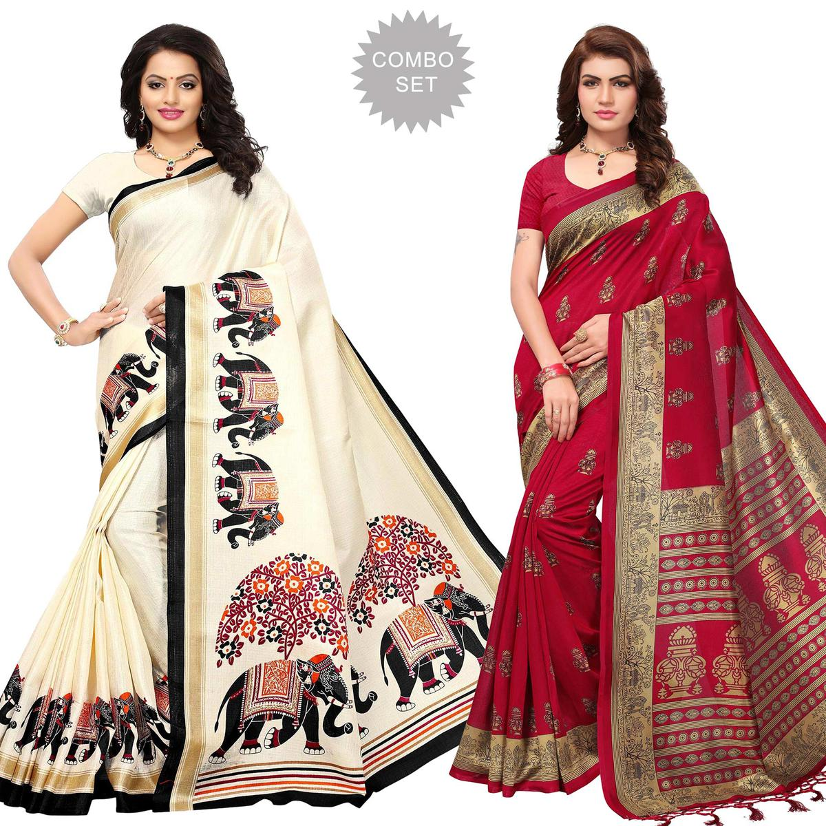 Staring Festive Wear Printed Mysore Art Silk-Khadi Silk Saree - Pack of 2