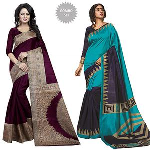 Beautiful Wine & Turquoise Blue Festive Wear Bhagalpuri Silk Saree - Pack Of 2