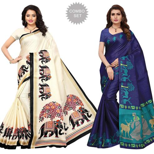 Refreshing Festive Wear Printed Khadi Silk Saree - Pack of 2