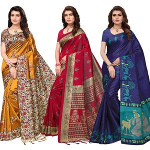 Impressive Festive Wear Printed Khadi Silk-Art Silk Saree - Pack of 3