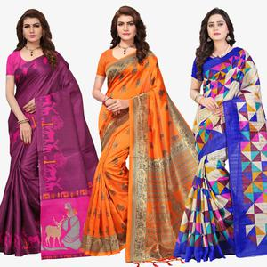 Engrossing Festive Wear Printed Sarees - Pack Of 3