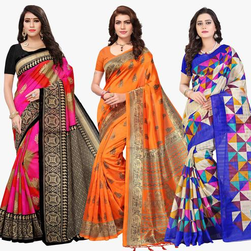 Radiant Festive Wear Printed Sarees - Pack Of 3