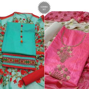 Impressive Embroidered Modal Dress Material - Pack of 2