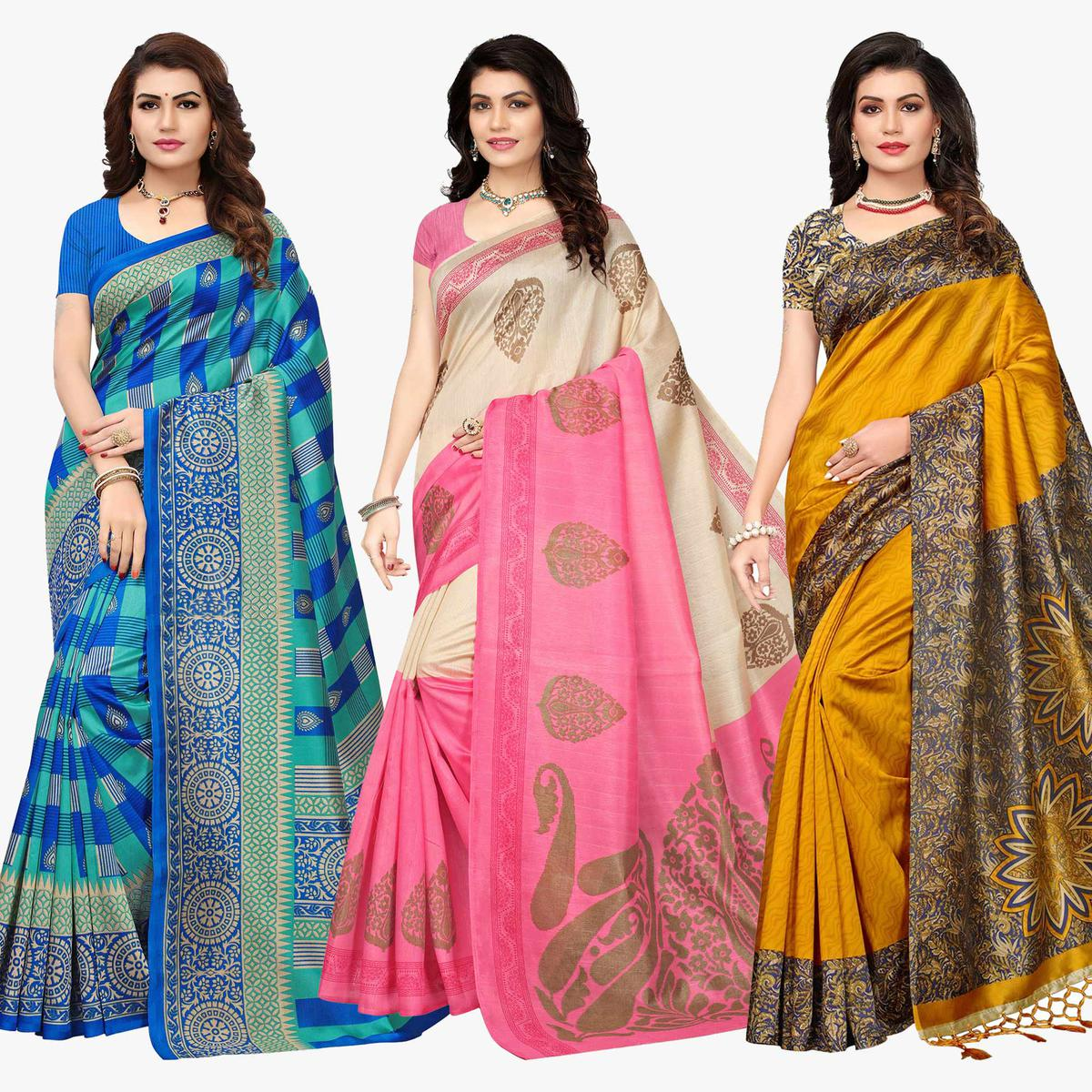 Classy Festive Wear Printed Art Silk-Bhagalpuri Silk Saree - Pack of 3