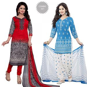 Red And Blue Printed Dress Material - Pack Of 2