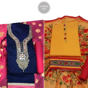 Stunning Partywear Embroidered Modal Dress Material - Pack of 2