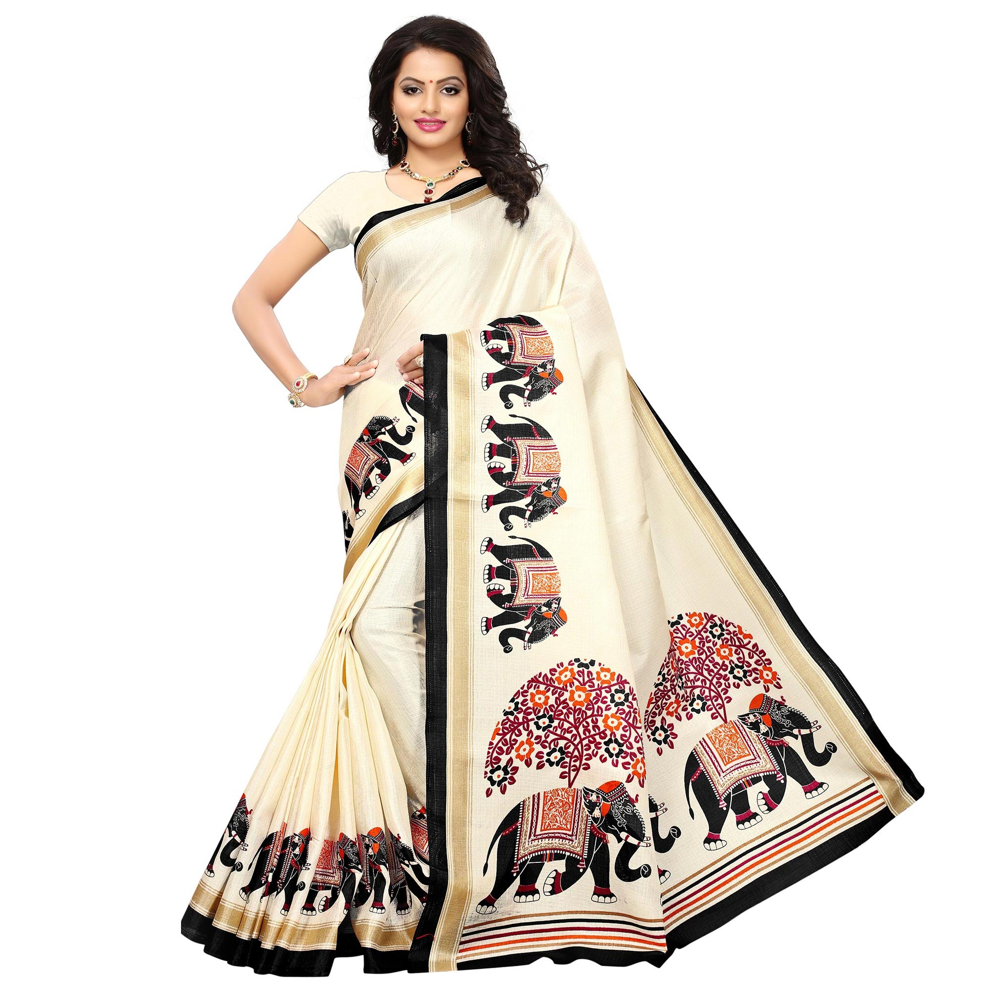Impressive Festive Wear Printed Bhagalpuri Silk-Khadi Silk Saree - Pack of 3
