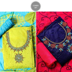 Blooming Partywear Embroidered Modal Dress Materials - Pack of 2