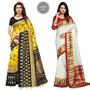 Rich Festive Wear Printed Art Silk-Bhagalpuri Silk Saree - Pack of 2