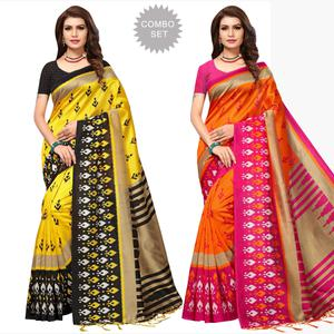 Mesmeric Festive Wear Printed Art Silk Saree - Pack of 2
