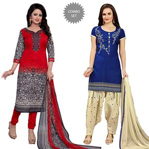 Red - Blue Cotton Dress Material Combo