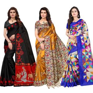 Sophisticated Festive Wear Printed Saree - Pack of 3