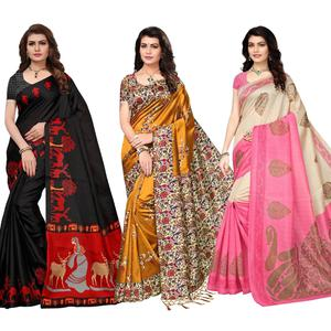 Eye-Catching Festive Wear Printed Saree - Pack of 3