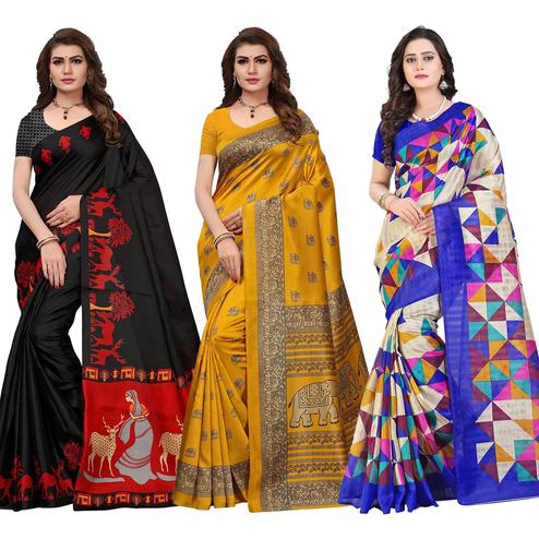 Gleaming Festive Wear Printed Saree - Pack of 3