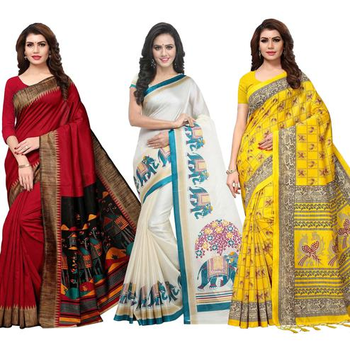 Adorning Festive Wear Printed Saree - Pack of 3