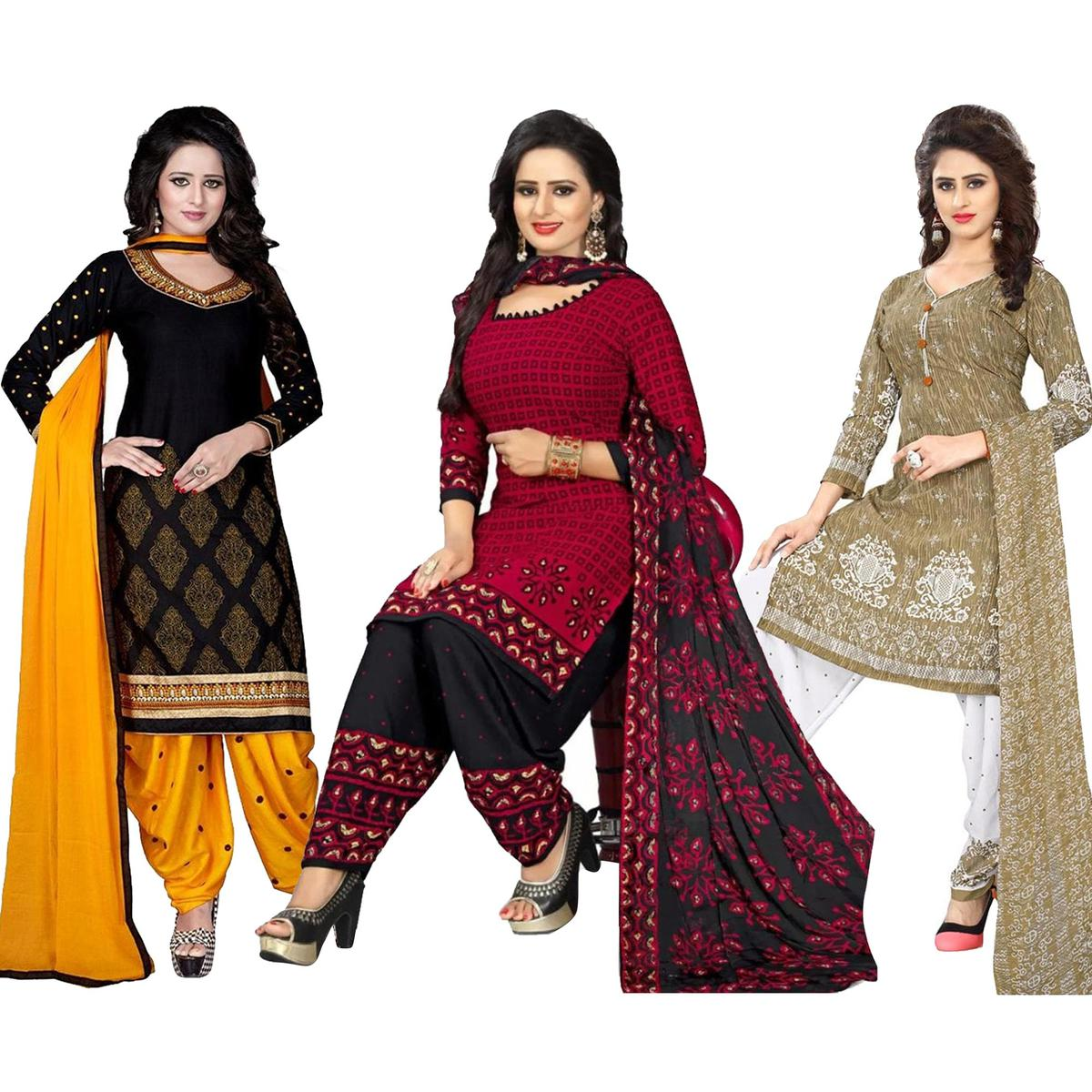 34fd3abb5b Buy Amazing Casual Printed Crepe-Leon Salwar Suit - Pack of 3 for womens  online India, Best Prices, Reviews - peachmodeAttractive Festive Wear  Printed Khadi ...