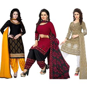 Amazing Casual Printed Crepe-Leon Salwar Suit - Pack of 3