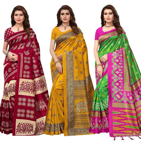 Marvellous Festive Wear Printed Art Silk Saree - Pack of 3