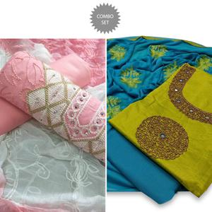 Attractive Partywear Embroidered Dress Material - Pack of 2