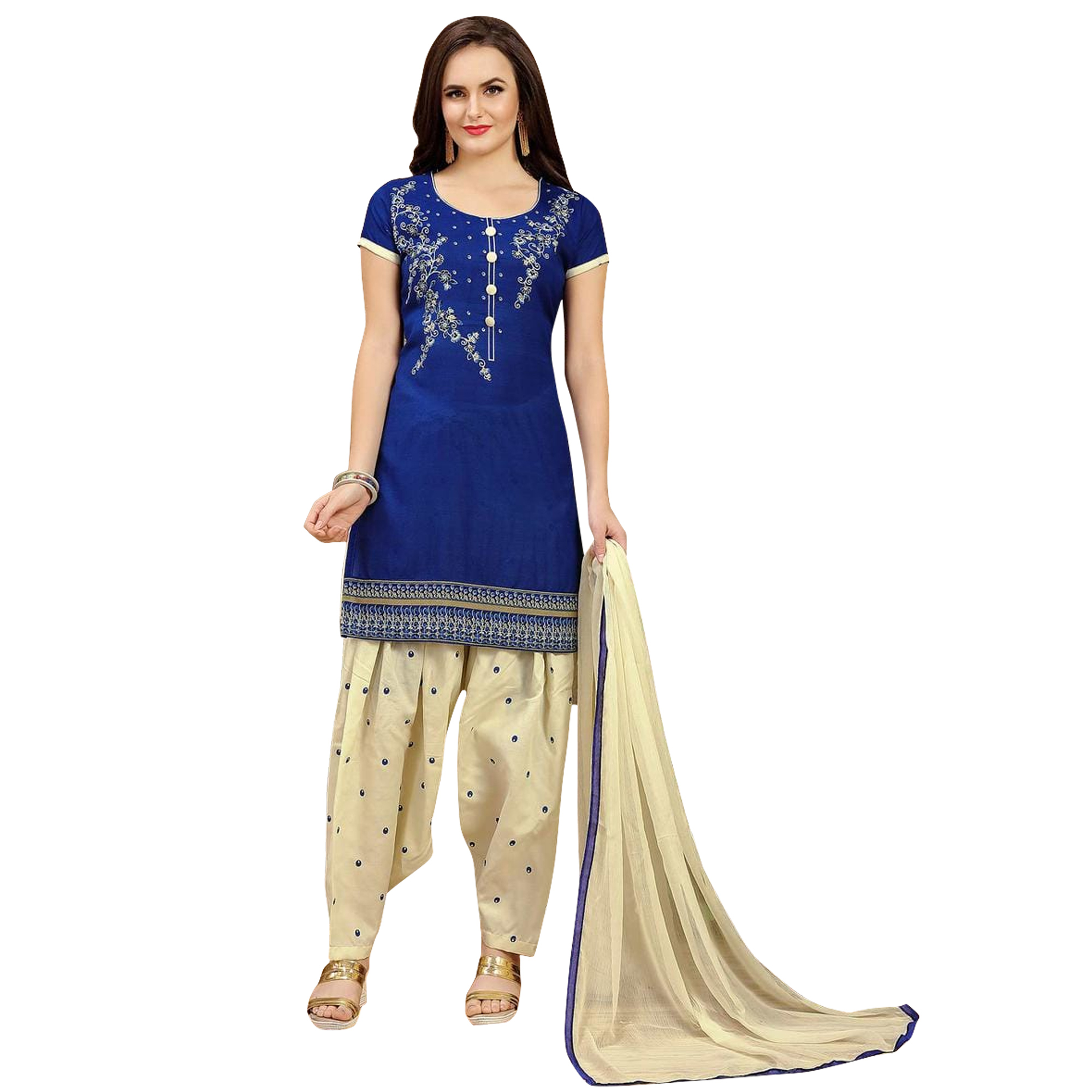 Adorning Casual Printed Crepe-Cotton Dress Material - Pack of 2