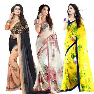Mesmerizing Casual Printed Georgette Saree - Pack of 3