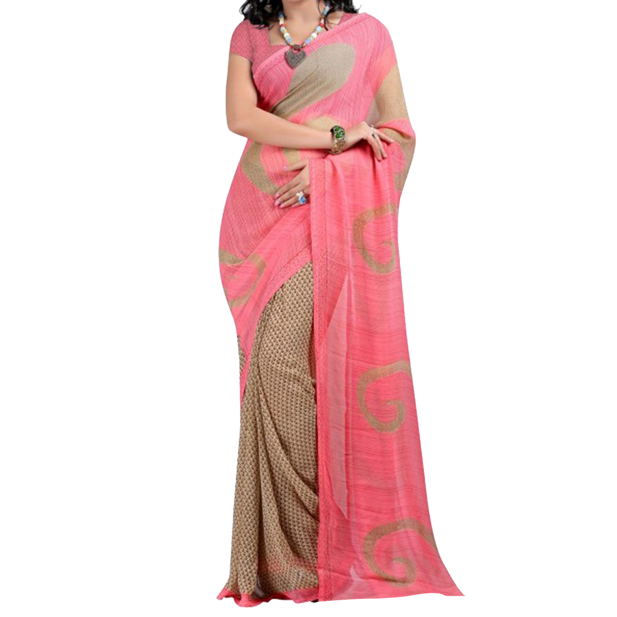 Beige - Pink - Green Georgette Printed Sarees (Pack of 3)