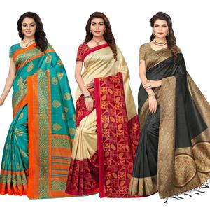 Desiring Festive Wear Bhagalpuri Silk-Art Silk Saree - Pack of 3