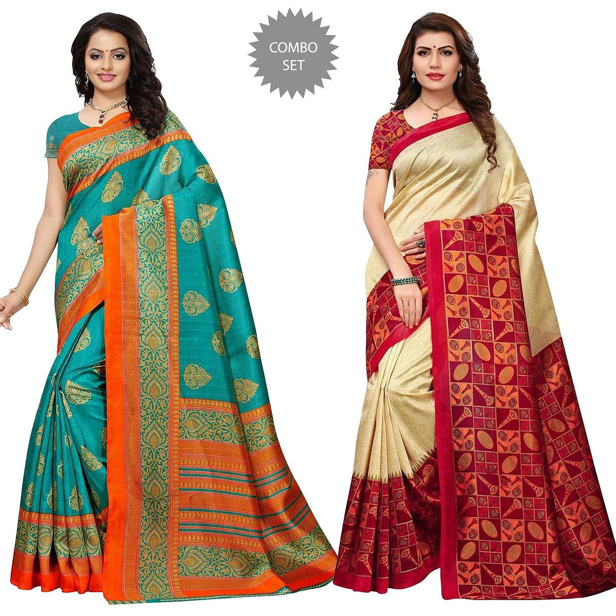 Beautiful Festive Wear Bhagalpuri Silk-Art Silk Saree - Pack of 2