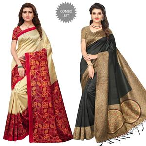 Eye-Catching Festive Wear Art Silk Saree - Pack of 2
