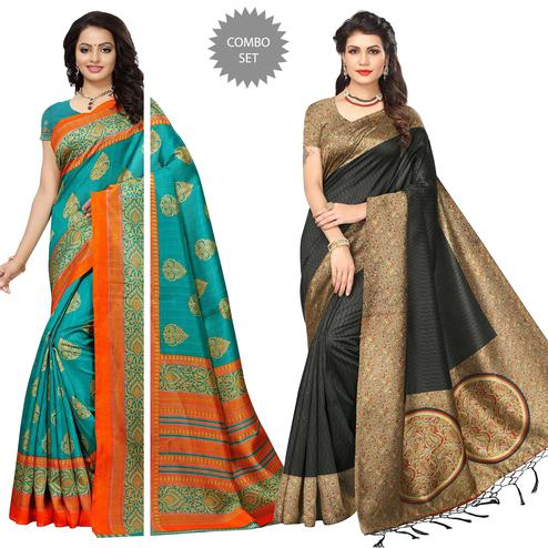 Glorious Festive Wear Bhagalpuri Silk-Art Silk Saree - Pack of 2