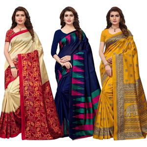 Gorgeous Festive Wear Printed Art Silk Saree - Pack of 3