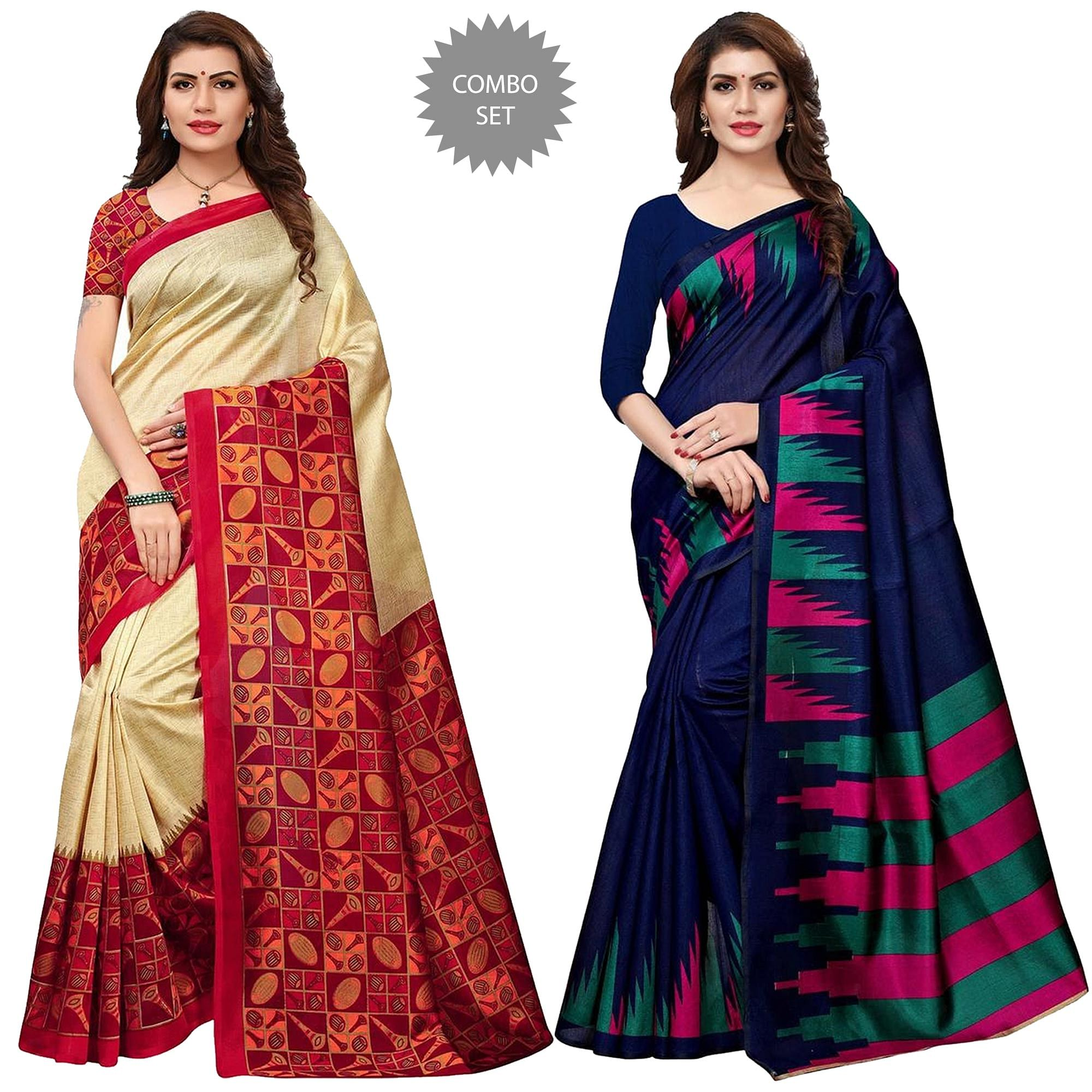 gleaming-festive-wear-printed-art-silk-saree-pack-of-2