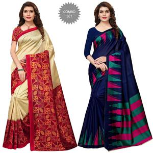 Gleaming Festive Wear Printed Art Silk Saree - Pack of 2