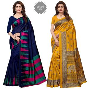 Elegant Festive Wear Printed Art Silk Saree - Pack of 2